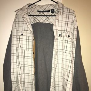 Gray white plaid long sleeve shirt
